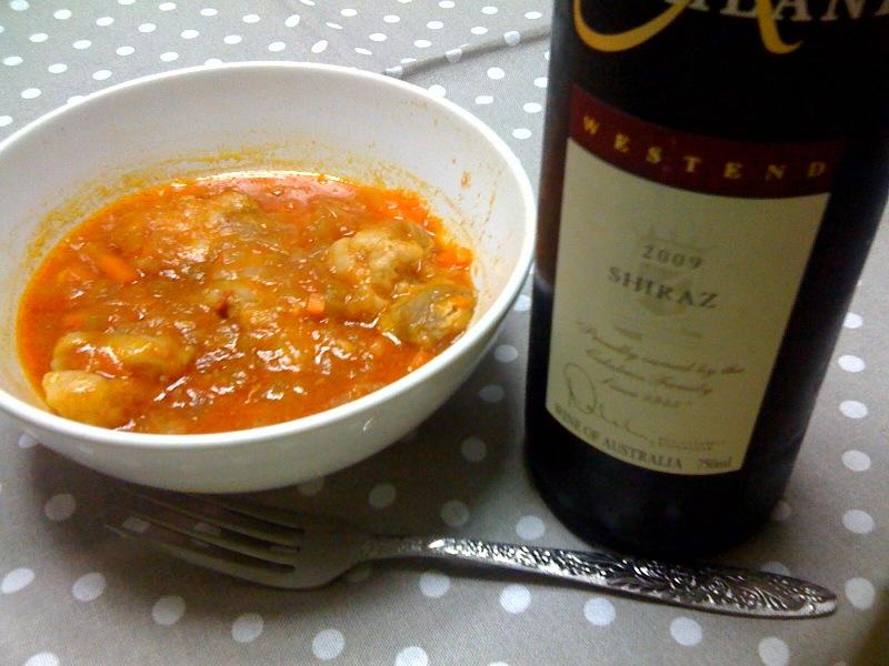 シラーと鶏肉のトマトソース煮